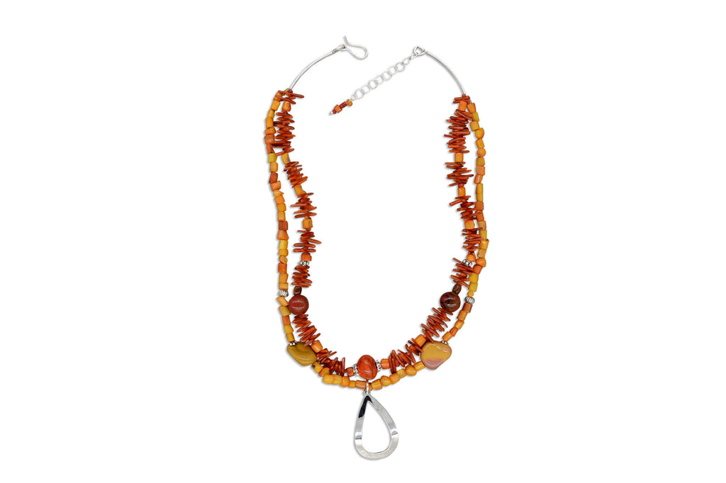 Darcy Necklace - Coral & Impression Jasper - Speero & Eden