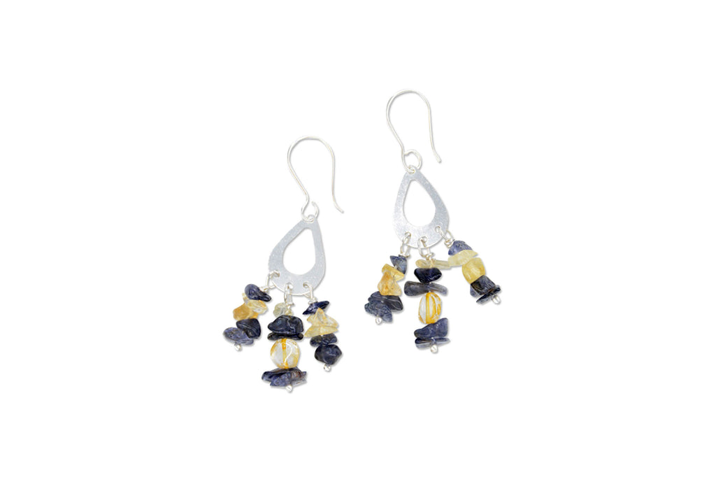Bellamy Earrings - Citrine & Iolite - Speero & Eden