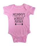 mommy's workout partner onesie fitness