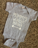 mommy's workout partner barbell onesie