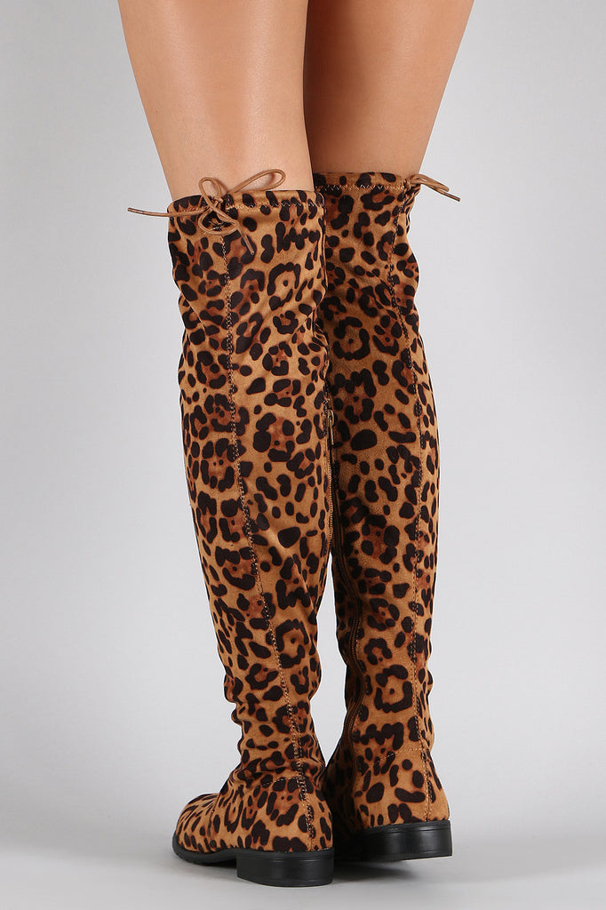 Bamboo Leopard Suede Tied Flat Thigh High Boot