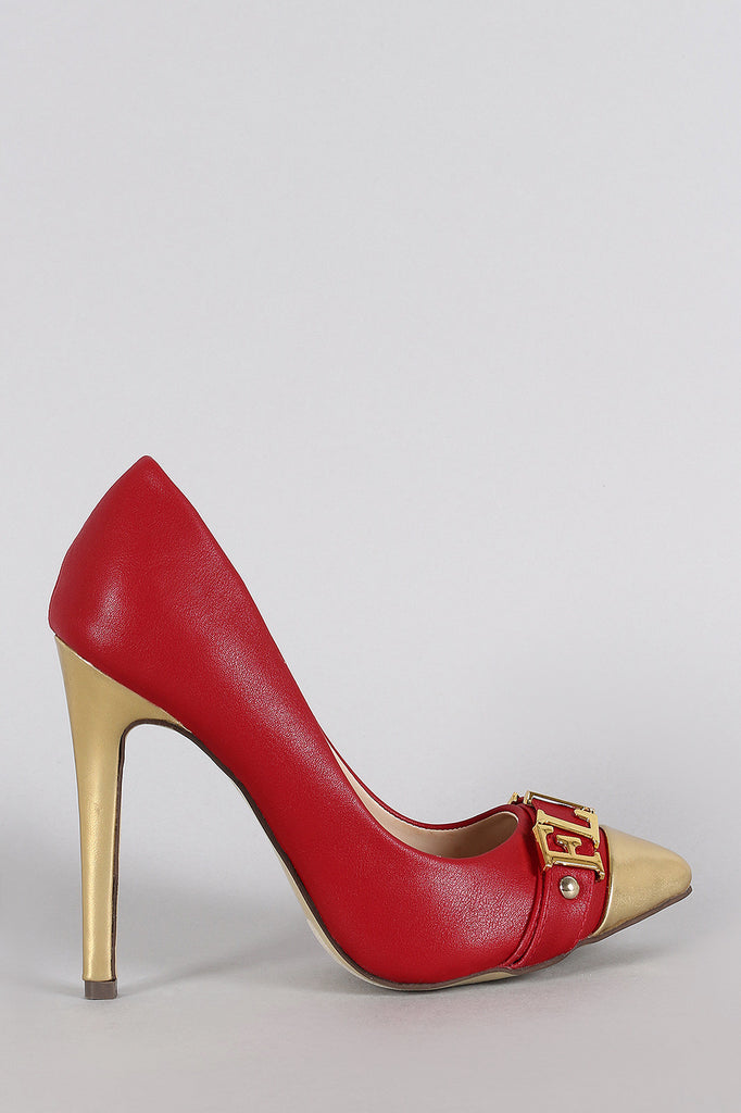 Liliana Two Tone Metallic Flawless Pointy Toe Stiletto Pump