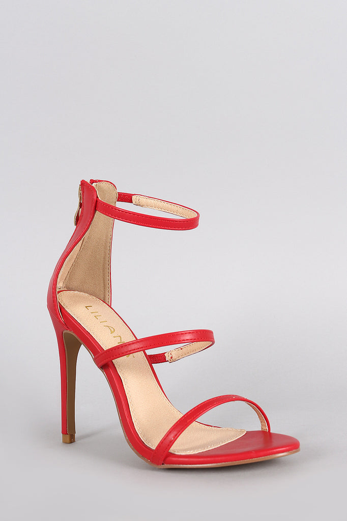 Liliana Open Toe Triple Straps Single Sole Heel