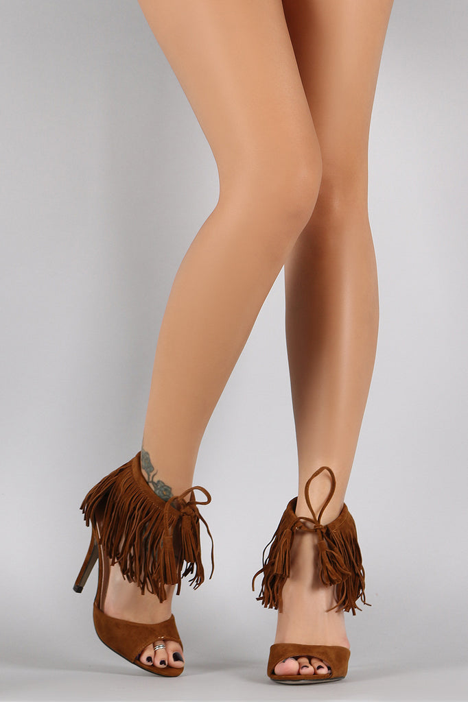 Fringe Cuff and Tassel Open Toe Heel