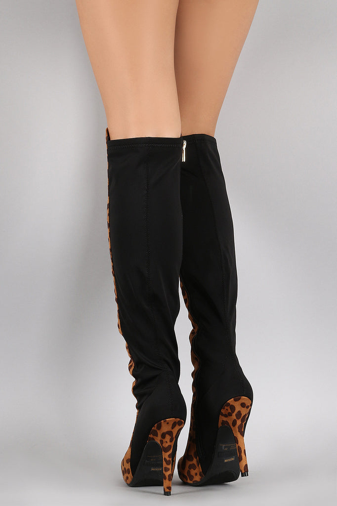 Dollhouse Leopard Contrast Panel Stiletto Over-The-Knee Boots