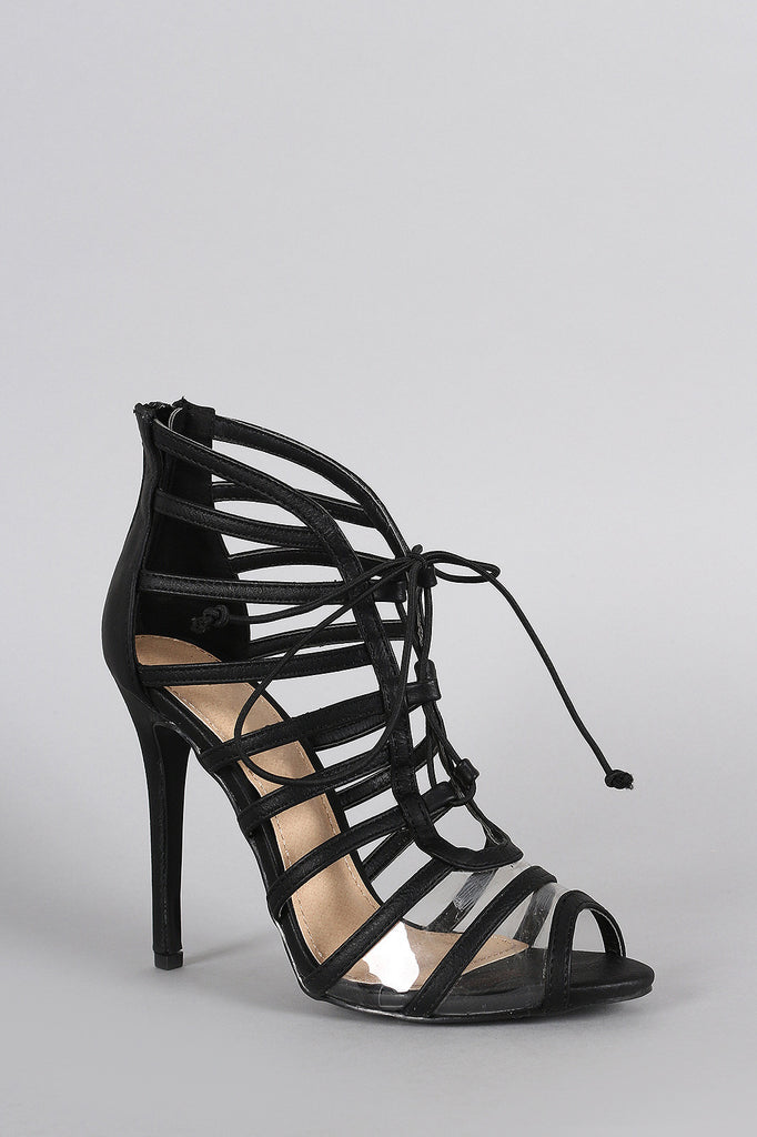 Liliana Strappy Lucite Lace Up Peep Toe Heel
