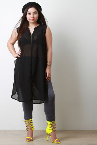 Chiffon Sleeveless Deep Slit Longline Tunic Top