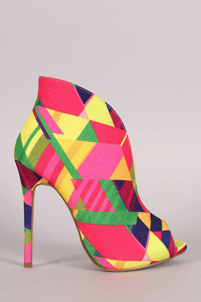 Liliana Multicolor Patterned V-Slit Peep Toe Stiletto Booties
