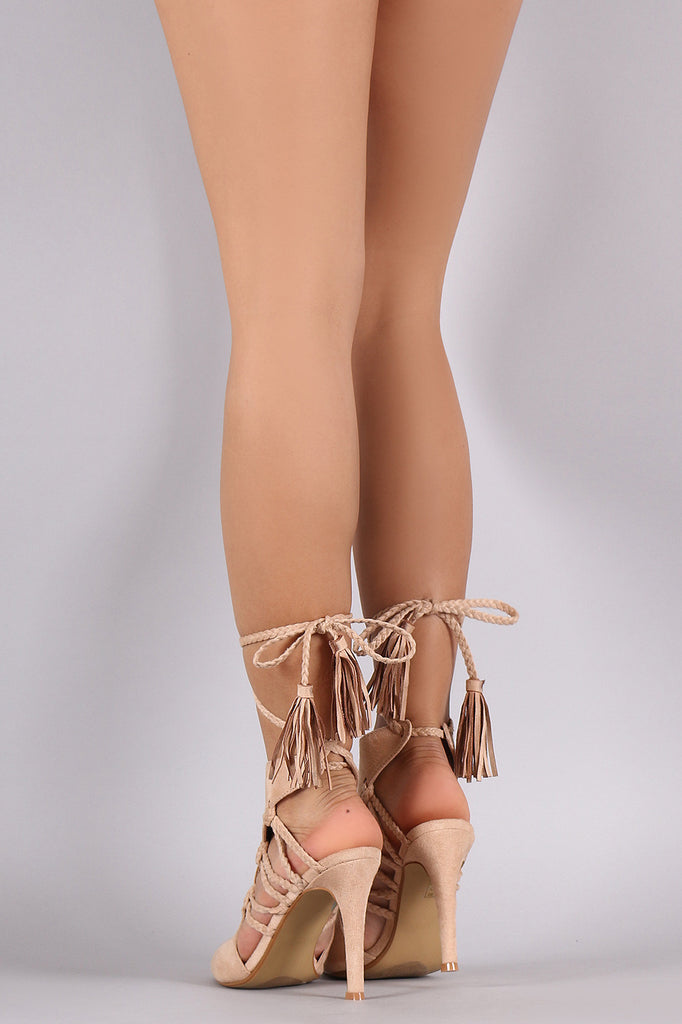 Braided Cutouts Lace Up Mule Heel