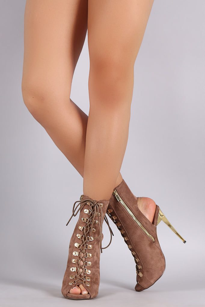 Military Corset Lace Up Mule Golden Heel