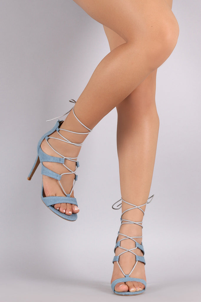 Denim Strappy Lace-Up Stiletto Heel