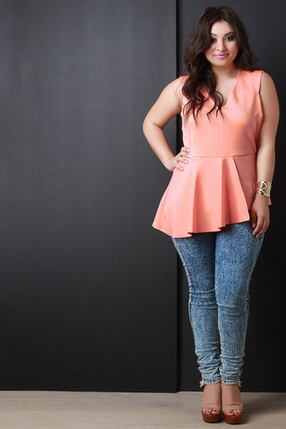 Asymmetrical Peplum V-Neck Top