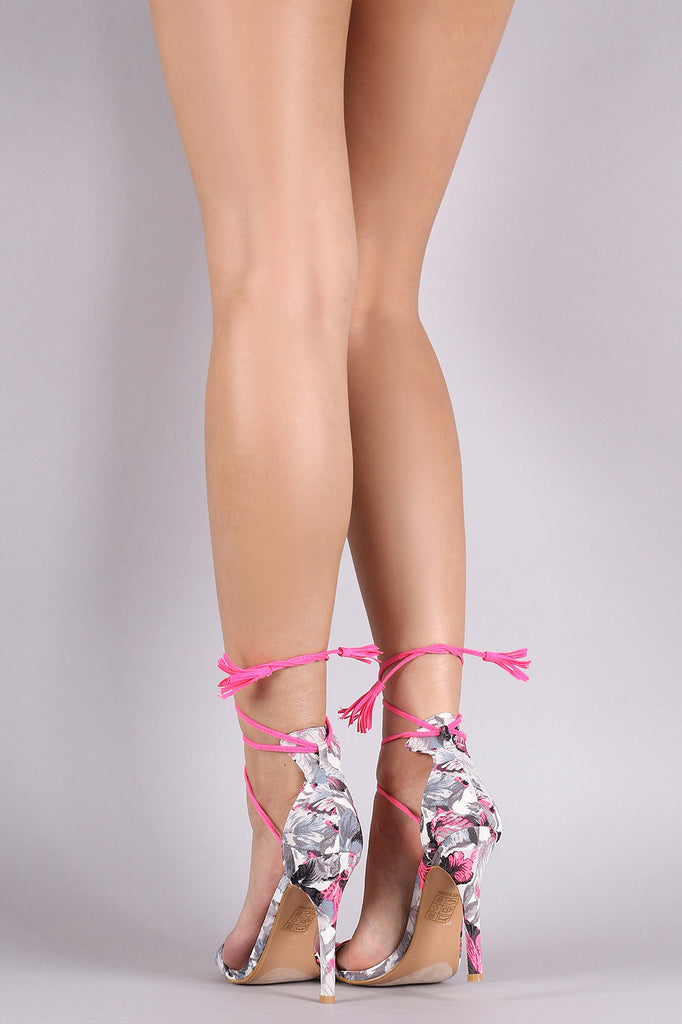 Floral Neon Lace Up Open Toe Heel