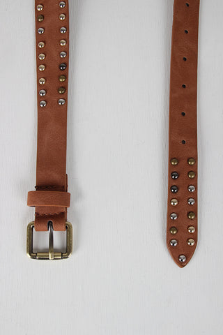 Studded Cracked Turquoise Tapered Belt