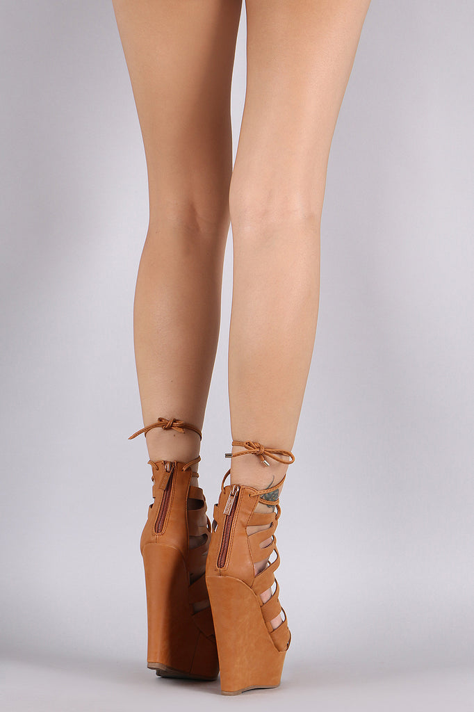 Breckelle Caged Lace Up Platform Wedge