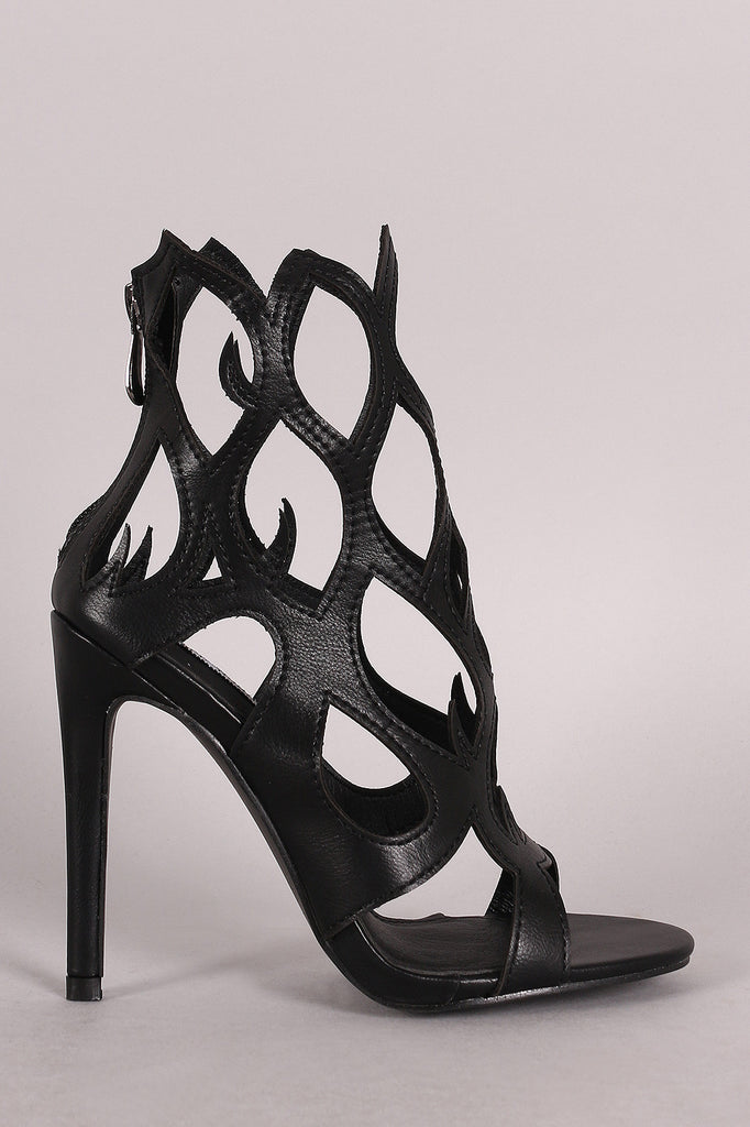 Fire Shaped Cutout Open Toe Stiletto Heel