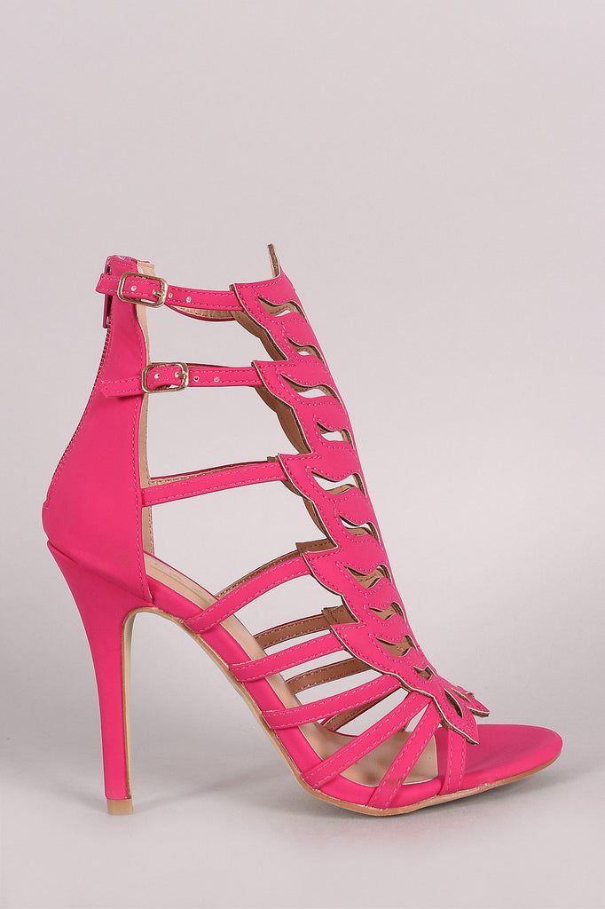 Nubuck Cutout Peep Toe Stiletto Heel