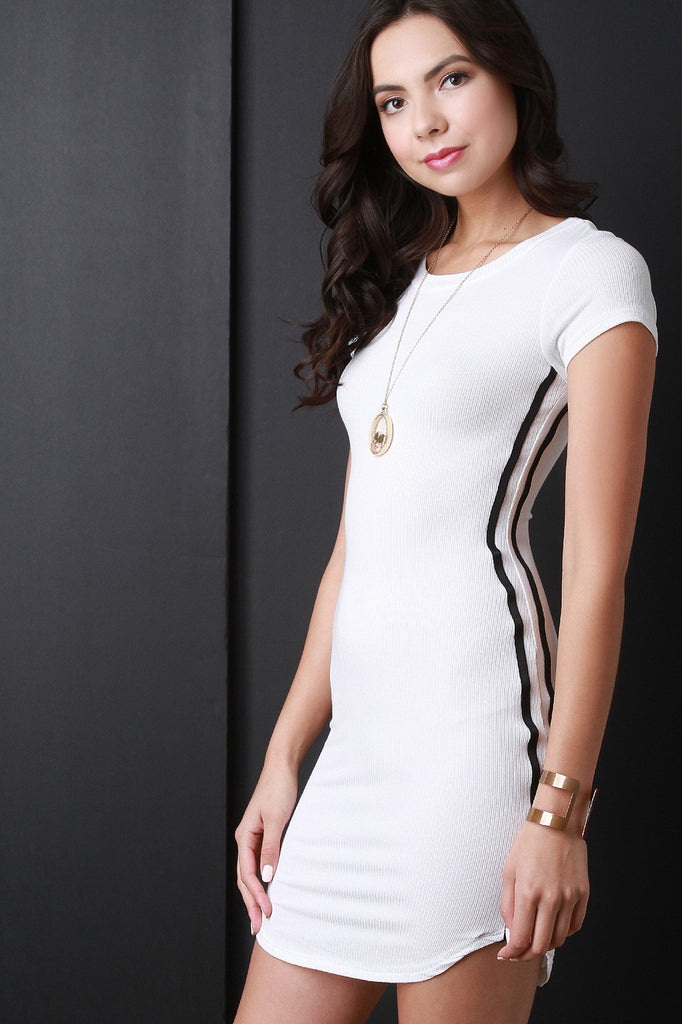 Ribbed Knit Short Sleeve Mini Dress