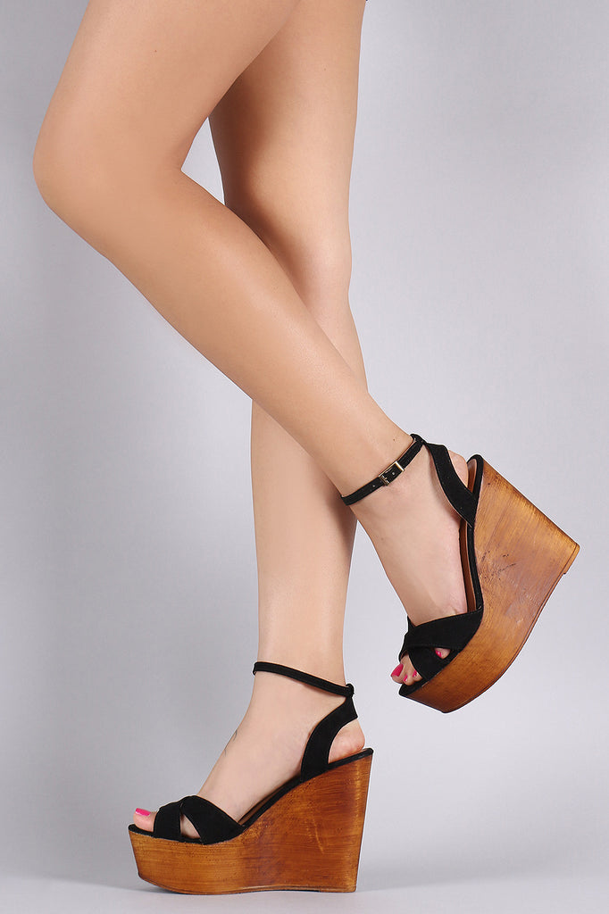 Bamboo Crisscross Ankle Strap Wooden Platform Mule Wedge