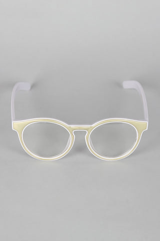 Horn Rimmed Metallic Accent Glasses