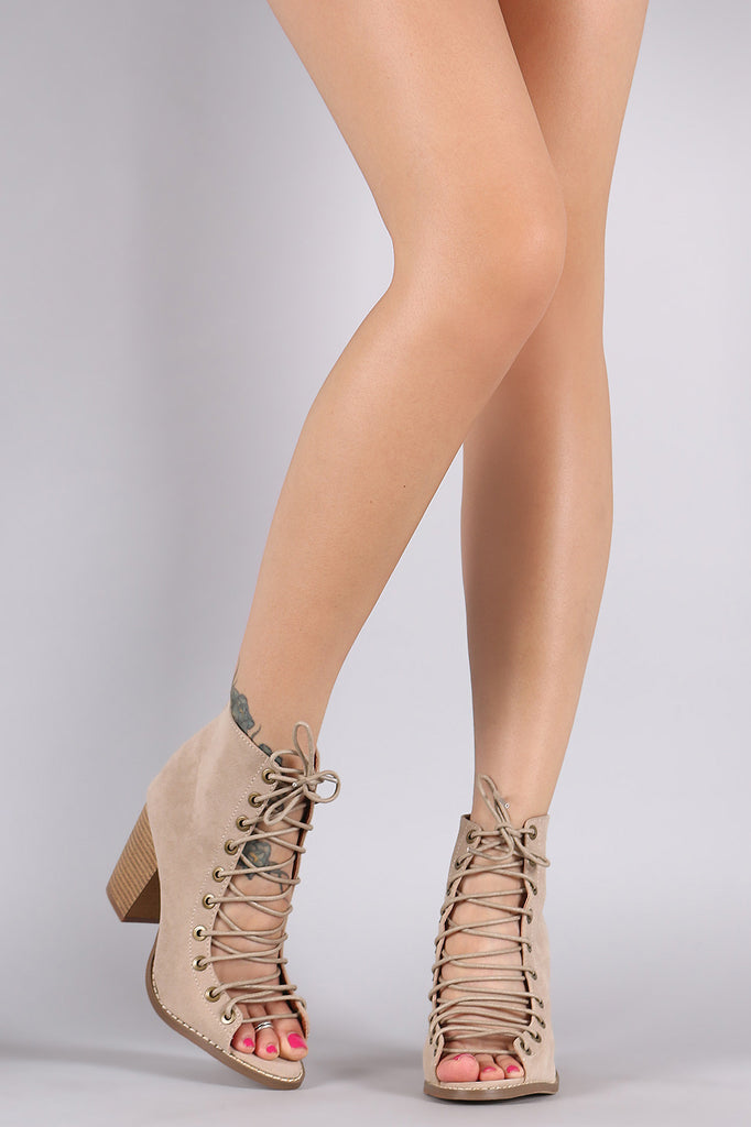 Corset Lace Up Chunky Heel Booties