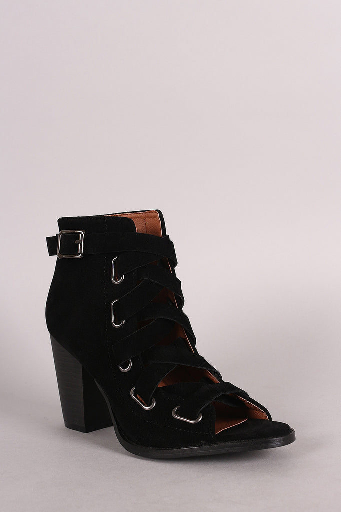 Combat Corseting Laces Peep Toe Booties