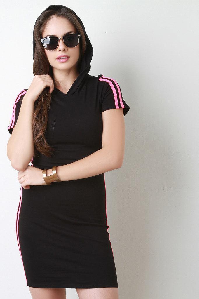 Double Stripe Side Hoodie Dress