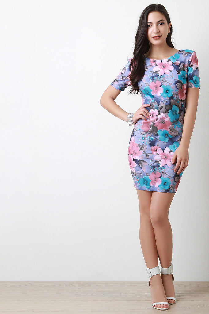 Floral Deep V-Back Mini Bodycon Dress