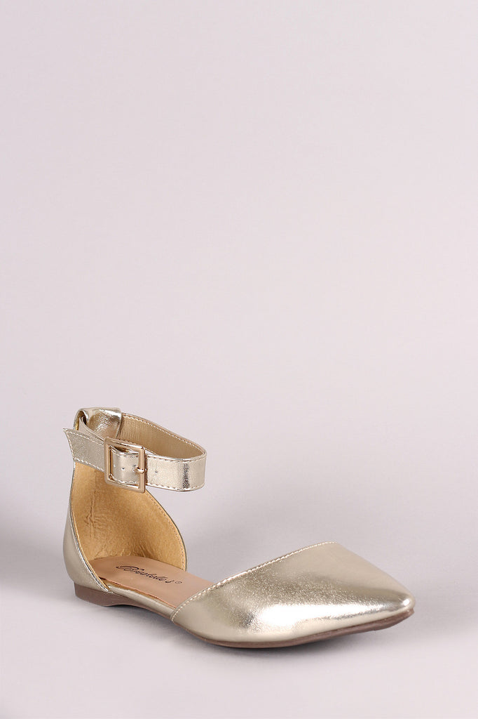 Breckelle Ankle Strap Pointy Toe Dorsay Flat