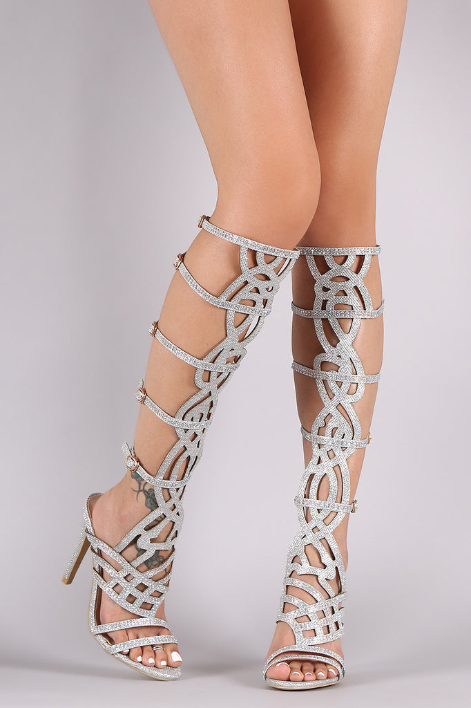 Glitter Rhinestone Caged Cutout Stiletto Heel