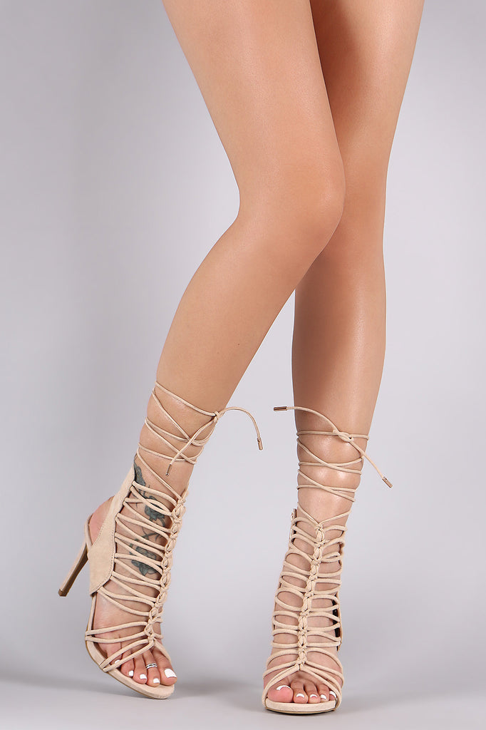 Anne Michelle Strappy Knotted Lace-Up Stiletto Heel