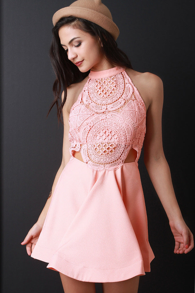 Mock Neck Crochet Top Skater Dress