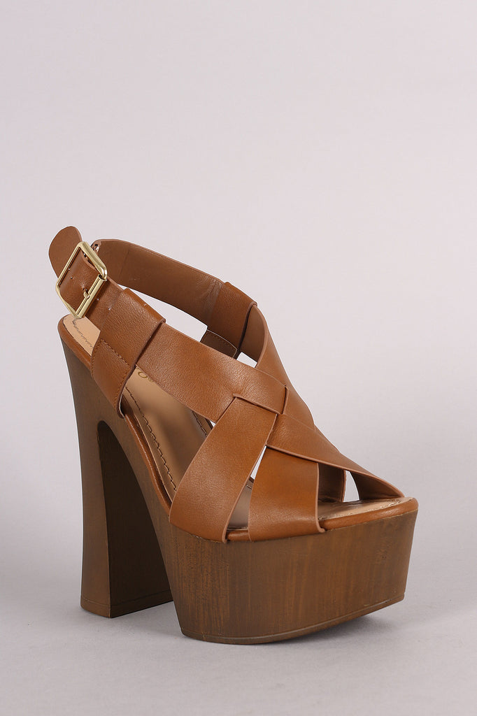 Bamboo Woven Chunky Faux Wooden Platform Heel