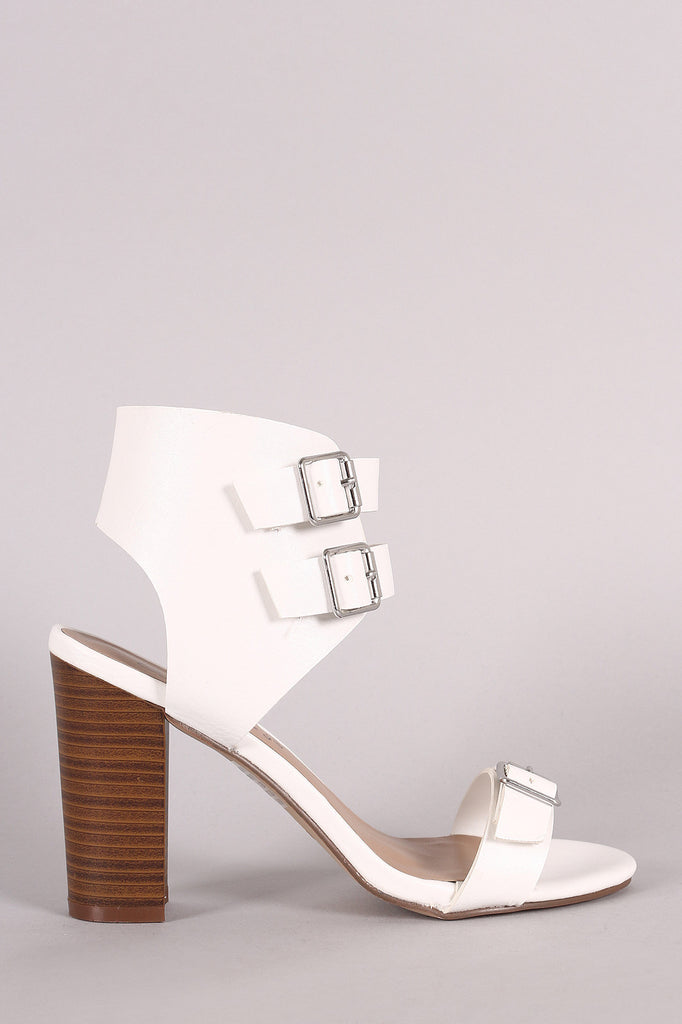 Breckelle Buckled Ankle Cuff Chunky Heel