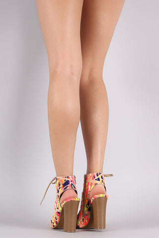 Bamboo Neon Watercolor Corset Lace Up Chunky Heel