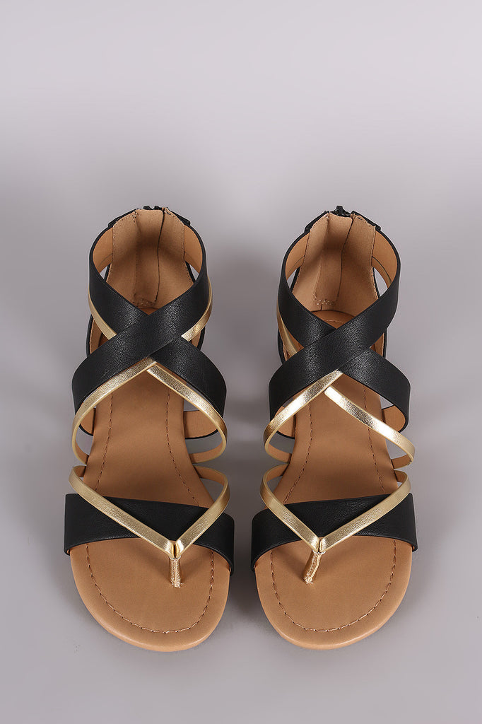 City Classified Two Tone Crisscross Flat Sandal