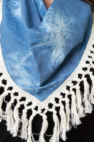 Acid Wash Chambray Tassel Trim Scarf