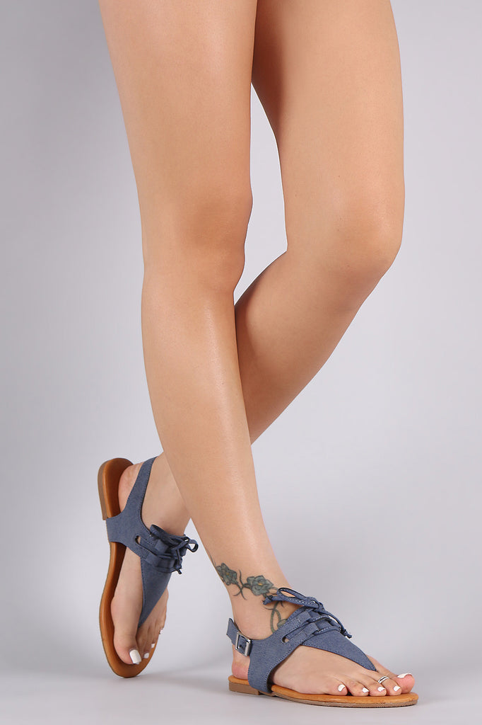 Bamboo Denim Print Lace-Up Thong Flat Sandal