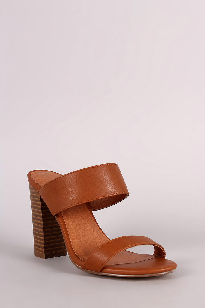 Double Band Open Toe Chunky Heel
