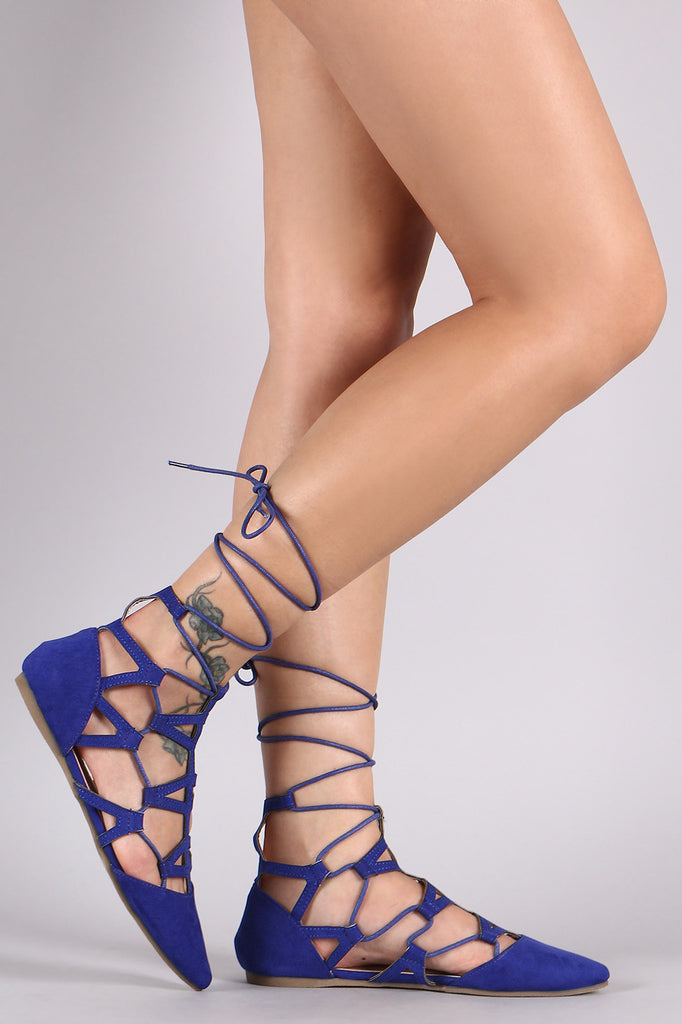 Liliana Laced Cage Pointy Toe Flat