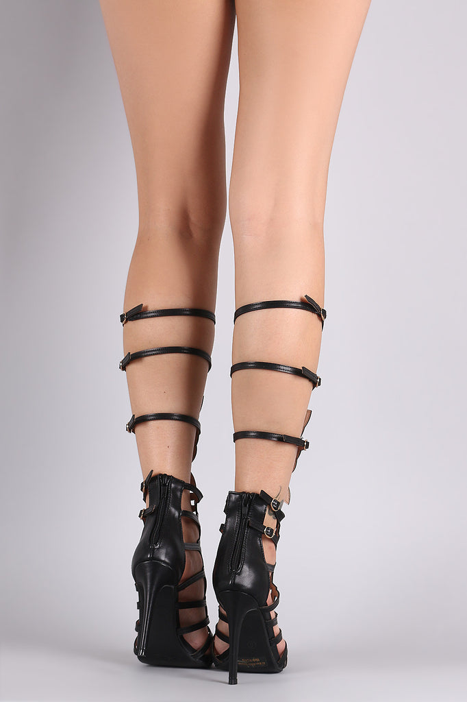 Detachable Shaft Wing Cutout Buckled Gladiator Heel