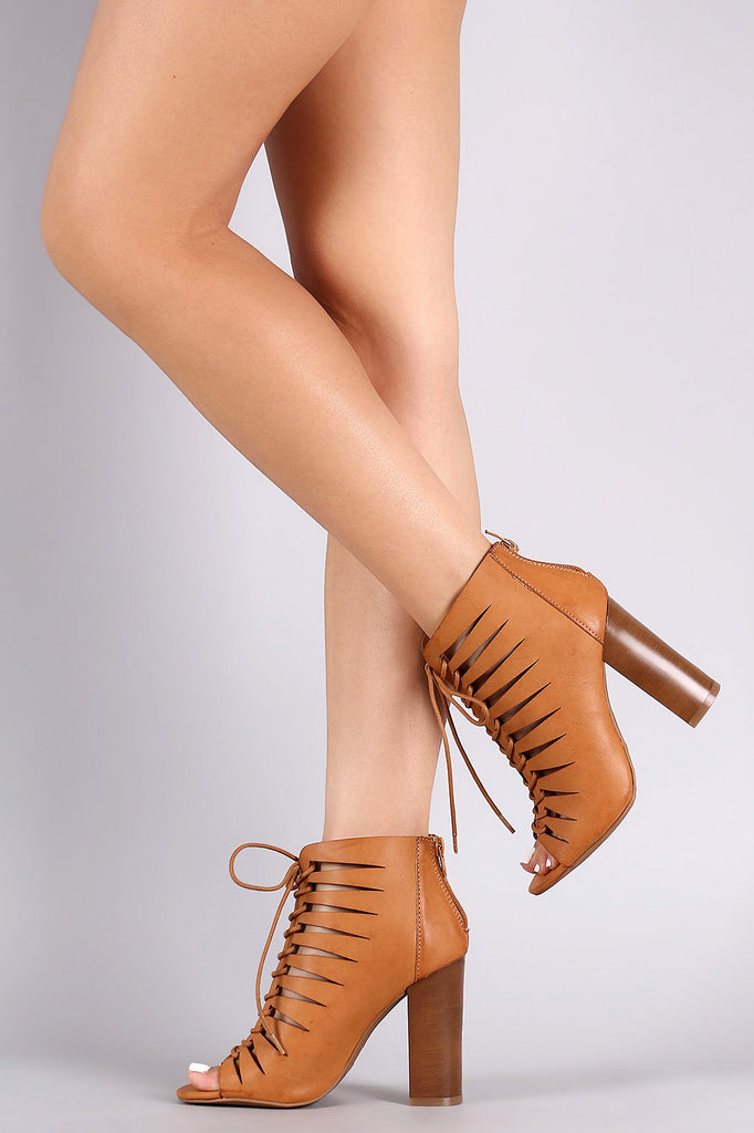 Bamboo Peep Toe Lace-Up Cutout Booties