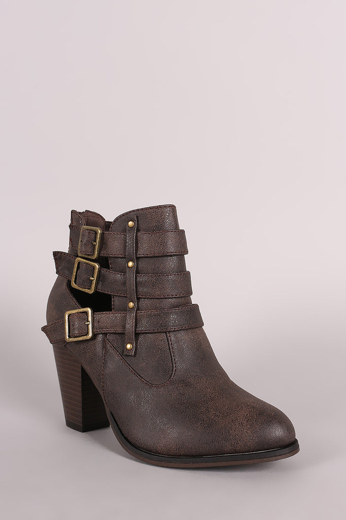 Buckled Side Cutout Chunky Heeled Ankle Boots
