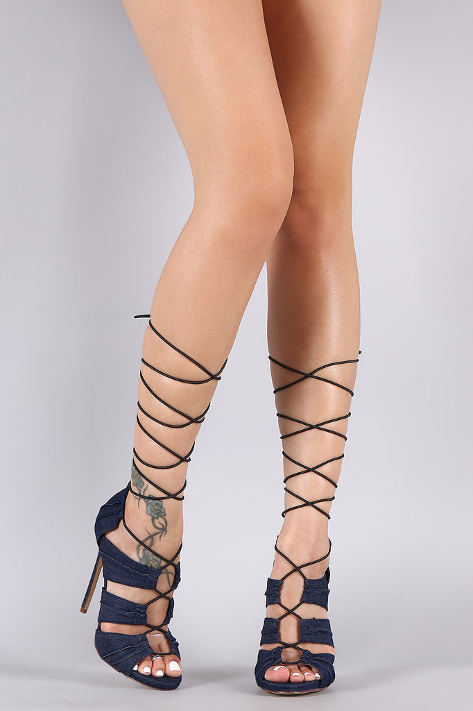 Liliana Denim Pleateded Panels Drawstring Lace-Up Stiletto Heel