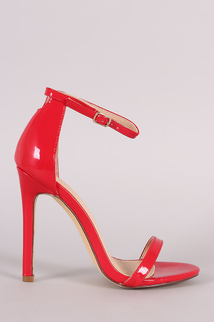 Liliana Glossy Double Strap Open Toe Stiletto Heel