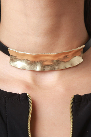 Hammered Metal Choker Necklace