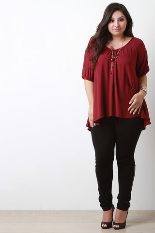 Cold Shoulder Button Accent Blouse Top