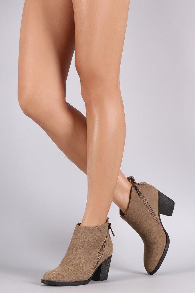 Bamboo Nubuck Diagonal Zipper Chunky Heeled Cowgirl Booties