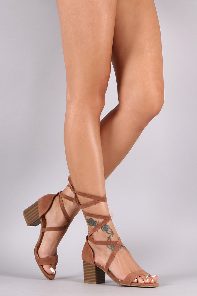 Bamboo Open Toe Wrap Block Heel Sandals