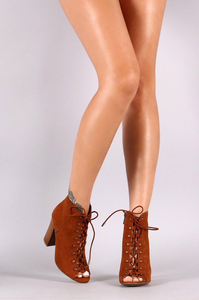 Bamboo Suede Lace-Up Studded Peep Toe Booties